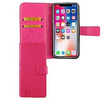 Apple iPhone kortet locket rosa XS mobila case väska täcker Flip fall