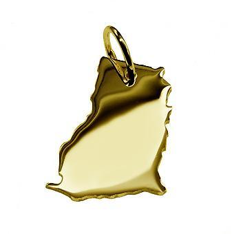 Släpvagn karta hängsmycken i guld gul-guld i form av GHANA
