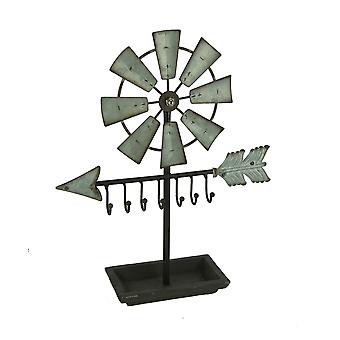 Rustic Metal Windmill and Arrow Sculpture with Key Hooks