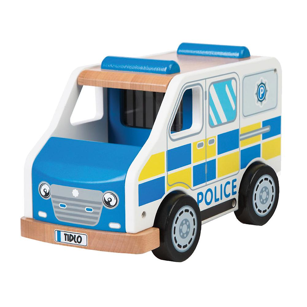 Tidlo Wooden Playset Police Van Vehicle Push Along Toy