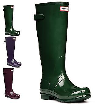 Womens Hunter Original Adjustable Back Gloss Wellington Waterproof Boots