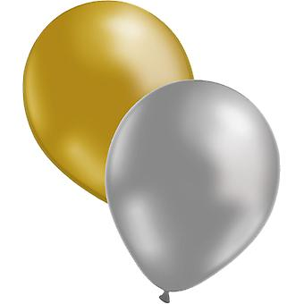 Balloons 12-pack Silver/Gold