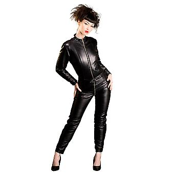 Honour Women's Sexy Catsuit in Leather Belted Deisng Biker Bitch Outfit