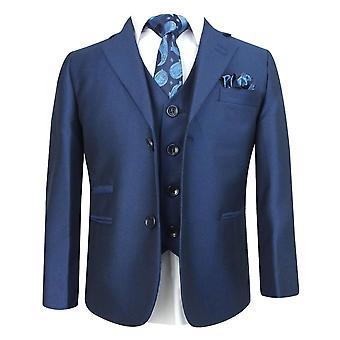 Boys Sheen Effect Parliament Blue Wedding Suit