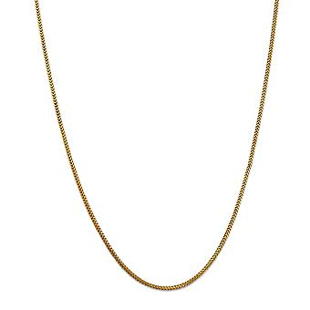 14k Yellow Solid Gold Franco Chain Necklace, 1.2mm