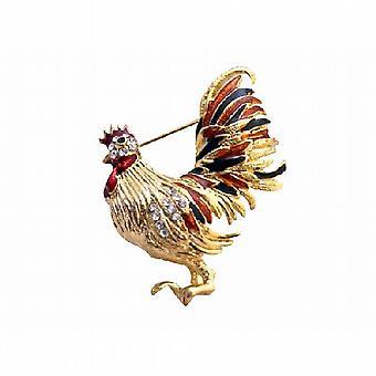 بروش جميل الدجاجة مطلي الذهب الملونة مع الزركون مكعب