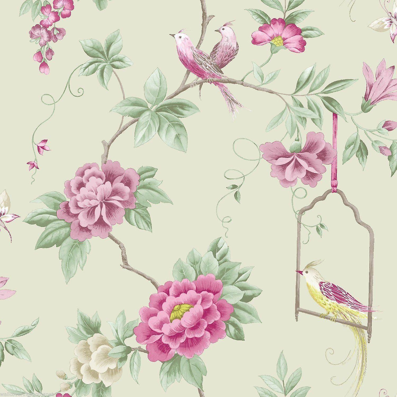 Birds Wallpaper Flowers Floral Leaves Wildlife Nature In Amethyst