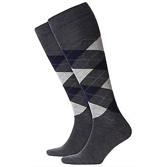Burlington Edinburgh Knee High chaussettes - gris/marine