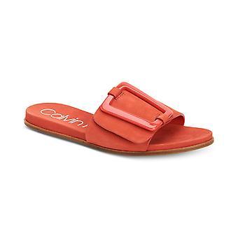 Calvin Klein Womens Patreece läder öppen tå Casual Slide sandaler