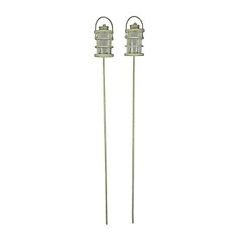 Off-White Metal Garden Stake Outdoor Tealight Holders Set of 2