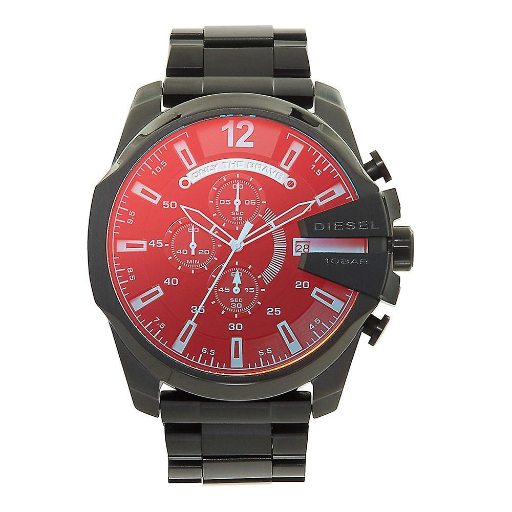 Diesel Dz4318 Mega Chief Blue & Red Dial Chronograph Men's Watch