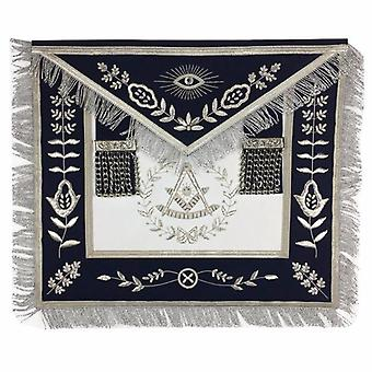 Masonic Blue Lodge Past Master Silver Handmade embroidery Apron Navy