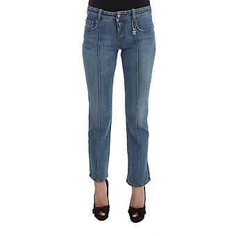 Blue cotton slim fit cropped jeans