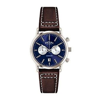 Rotary Chronograph Silver Brown Leather Strap Men's Watch GS02730/05 40mm