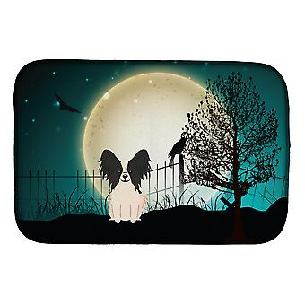 Halloween Scary Papillon Black White Dish Drying Mat