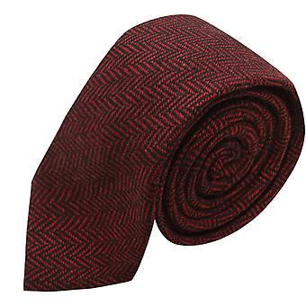 Cranberry Red & Black Herringbone Tie