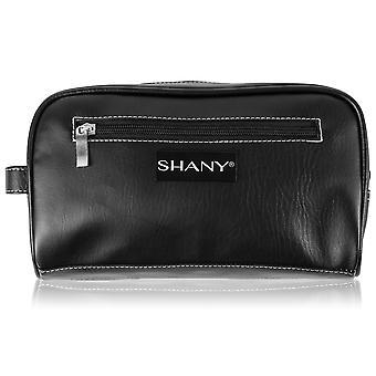 シャニトラベルトイレタリーバッグとドップキット - ジッパー付きフェイクレザーグルーミングオーガナイザー3ナイロン裏地ポケット付き - ブラック
