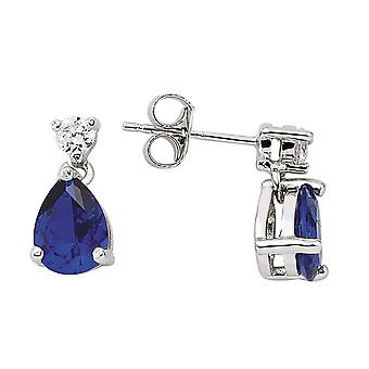 Jewelco London Rhodium Plated Silver Blue and White Pear and Round Brilliant Cubic Zirconia Tears of Joy Drop Earrings