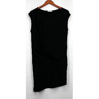 Double U Plus Dress 3X Scoop Neck Asymmetrical Hem w/ Front Drape Black