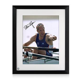Steve Redgrave firmó la foto de remo: Cinco veces campeón olímpico. Enmarcado