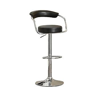 Round seat bar stool with gas lift black and silver set of 2