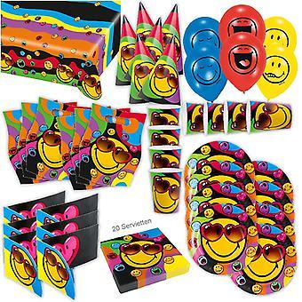 Poluição atmosférica express do-it-yourself festa Kit XL 68-teilig para 6 hóspedes Emoji smilie decoração parte pacote