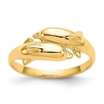 14k Yellow Gold Solid Polished Open back Double Dolphin Ring Jewelry Gifts for Women - 2.5 Grams