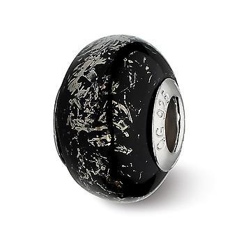 925 reflejos pulidos de plata esterlina negro con platino papel de aluminio cerámica encanto colgante collar regalos de joyería para