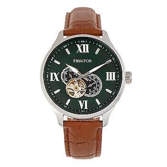 Perinnötai automaattinen Harding semi-Skeleton nahka ranneke Watch-hopea/vihreä