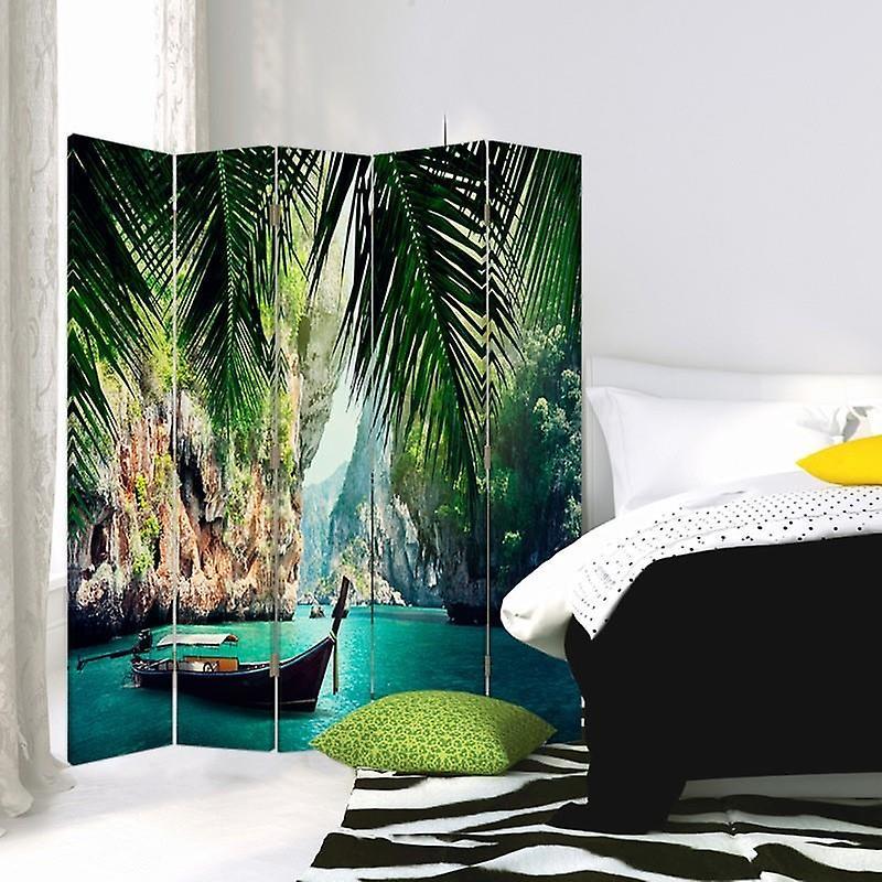 Diviseur de chambre, 5 panneaux, toile, bateau dans les tropiques