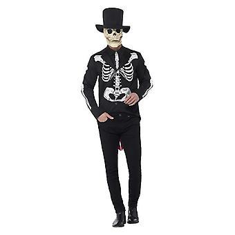 Giorno maschile del morto Senor Scheletro Fancy Abito Halloween