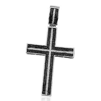 Dazzlingrock Collection 1.00 Carat (ctw) Micro Pave White & Black Diamond Mens Hip Hop Religious Cross Pendant, Sterling Silver