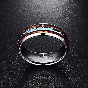 Customized polished matte abalone shell tungsten carbide wedding engagement ring for men