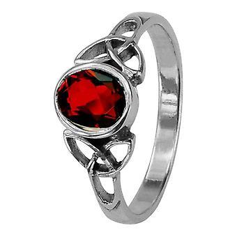 Keltische Heilige Drievuldigheid Knots Birthstone ring januari-Garnet steen