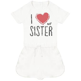 I Love My Sister Red Heart Baby Playsuit