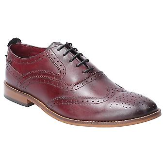 Basis London Mens Focus Gewassen Lace Up Brogue Schoen Bordo