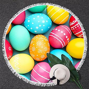 Colorful Easter Eggs Beach Towel