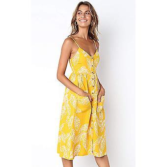 Angashion Women's Dresses-Summer Floral Bohemian, 650 Yellow, Size Large