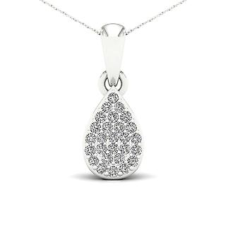 Igi certified 10k white gold 0.1ct tdw diamond drop cluster pendant necklace