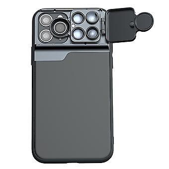 Beskyttende etui til Apple iPhone 11 Pro max 6,5 tommer sort incl. vidvinkel teleskop fisheye case sag