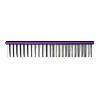 Groom Professional Spectrum Aluminium Comb 50/50 Purple 25cm