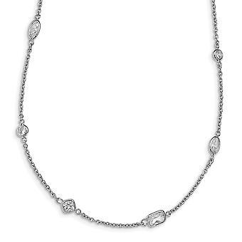 Cheryl M 925 Sterling Zilver Fancy Kreeft Sluiting CZ Cubic Zirconia Gesimuleerde Diamanten Ketting 36,5 Inch Sieraden Geschenken