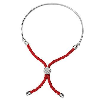 925 Sterling Silver Rhodium Plated Bar Light Red Braided Macrame Bracelet 7 Inch Jewelry Gifts for Women