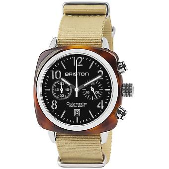 Briston 13140.SA.T.1.NK Clubmaster Classic Khaki Strap Chronograph Wristwatch