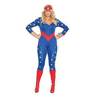 Elegant Moments Plus Size American Hero Wonder Girl Super Hero Halloween Costume
