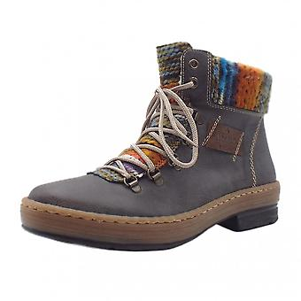 Rieker Z6743-45 Tipsy Fashion Ankle Boots With Knitted Collar In Grey Combi