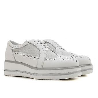 Hogan Women's Mode Keile Schnürschuhe aus weißem Leder und Stoff