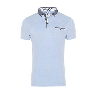 R2 Short Sleeved Pocket Polo Shirt Light Blue