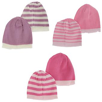 Toddlers Girls Knitted Two Tone Winter Hat (Pack Of 2)