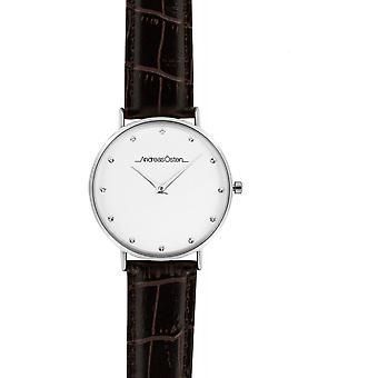 Guarda Andreas Osten AO-27 - Leather Watch Marron Bo di livello mixed silver
